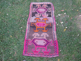 Turkish Rug 1x2 Pink Wool Pile Small Vintage Rug Hand Knotted Semi Antique Area Rug - ELEA0102