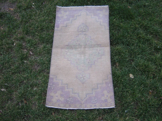 Turkish Rug 1x2 Purple Wool Pile Small Vintage Rug Hand Knotted Semi Antique Area Rug - ESME0102