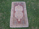 Turkish Rug 1x3 Brown Wool Pile Small Vintage Rug Hand Knotted Semi Antique Area Rug - FINA0103