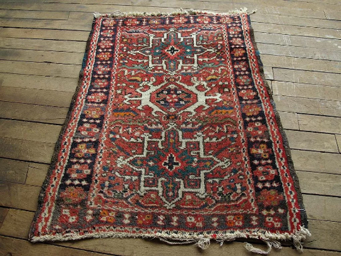 Vintage Red Persian Wool Area Rug 2'2x2'7 Hand Knotted Wool KARA0202