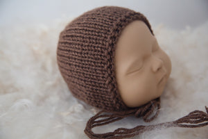 Brown Knitted Bonnet