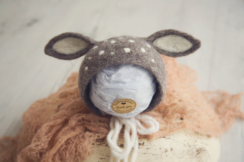 Deer Bonnet Newborn Baby Photography Props ~ Greyish Brown - True Art Collection