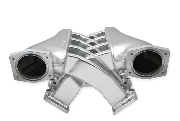 Holley Sniper EFI Fabricated Intake Manifold Dual Plenum 92mm GM LS1/LS2/LS6 + Fuel Rail Kit - Silver - Part# 820201