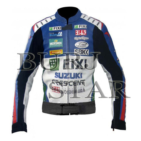 Suzuki Fixi Motorbike Racing Leather Jacket