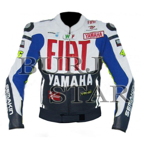 Rossi Yamaha Fiat Dark Blue/ Black Motorbike Racing Leather Jacket