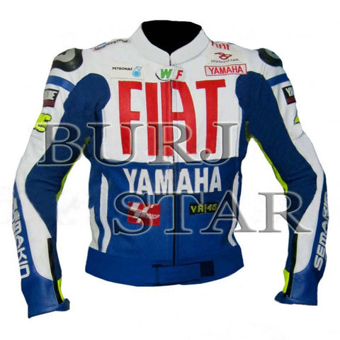 Rossi Yamaha Fiat Blue Motorbike Racing Leather Jacket