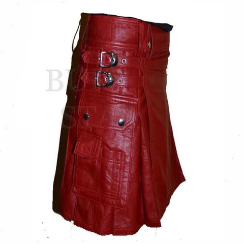 New Design Men Genuine Leather Gladiator Scottish Warrior Pleated Style Kit - High Quality Red Leather Kilt
