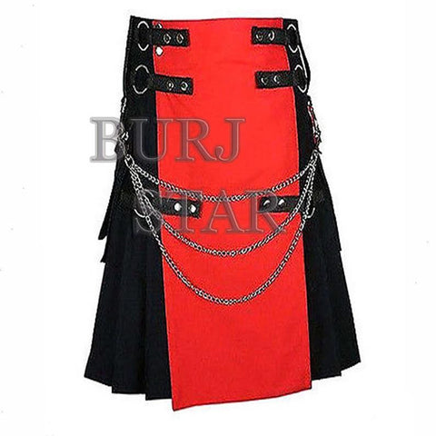 Stylish Mens Red and Black Utility Kilt with Chrome Chain