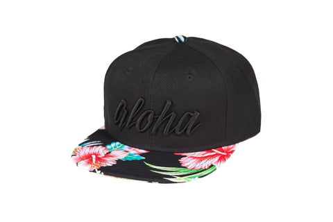 Aloha Double Black Hibiscus Snapback - Toddler/ Youth