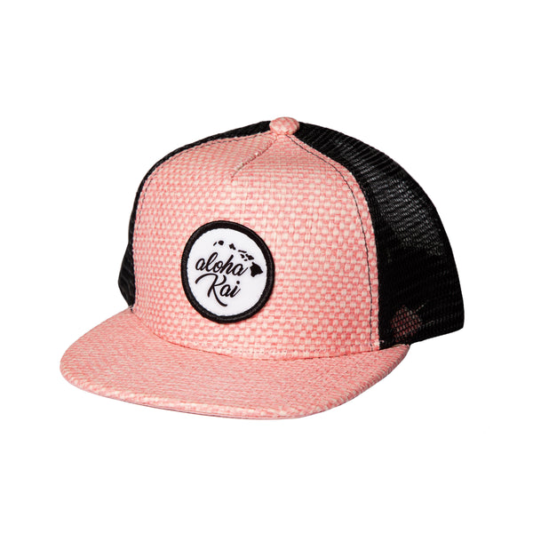 aloha kai Pink Straw Trucker Snapback - Toddler/ Youth