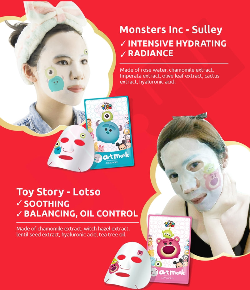 Toy Story - Lotso / Monster Inc - Sulley Tsum Tsum Facial Art Masks