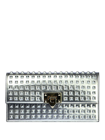 Bag of Parody SLIMTFIT Rivet Clutch Bag - Shiny Silver - VixenQue - 1