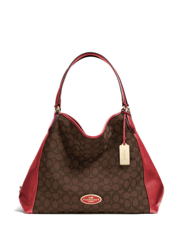 Coach 33523 Jacquard Edie Shoulder Bag - Brown + Red Currant - VixenQue - 1