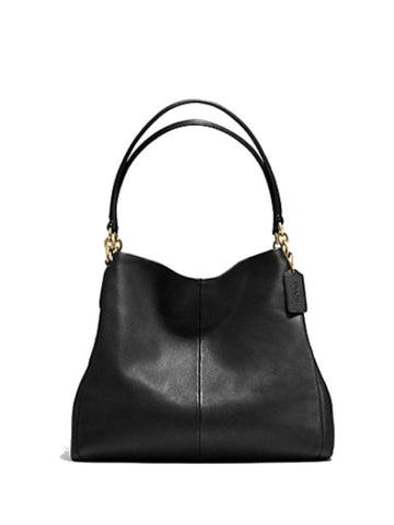 Coach 35723 Pebble Leather Phoebe Shoulder Bag - Black - VixenQue - 1