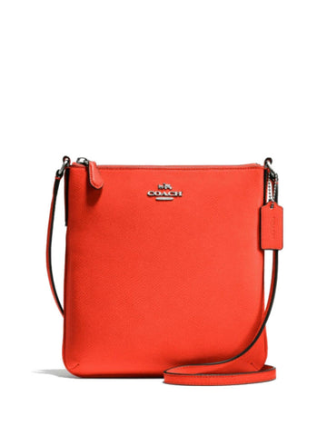 Coach 36063 North/South Crossbody in Crossgrain Leather - Orange - VixenQue - 1