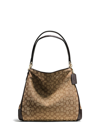 Coach 36424 Phoebe Shoulder Bag In Outline Signature - Khaki + Brown - VixenQue - 1
