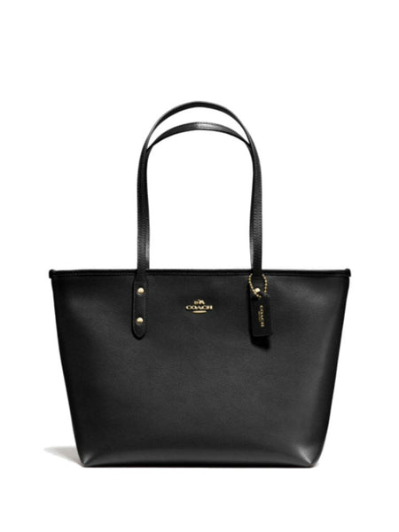 Coach 36875 Crossgrain Leather City Zip Tote - Black - VixenQue - 1