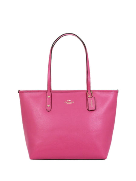 Coach 37785 Crossgrain Leather City Zip Tote - Dahlia - VixenQue - 1