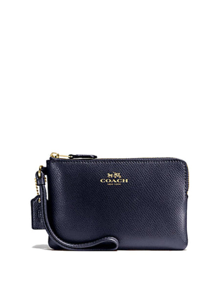 Coach 54626 Crossgrain Leather Corner Zip Wristlet - Gold Midnight - VixenQue