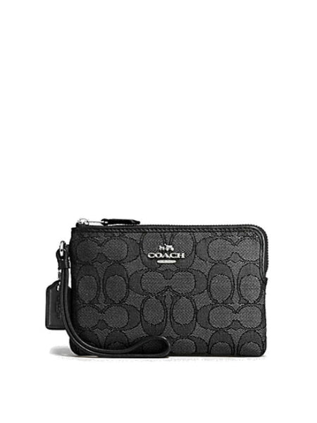 Coach 54627 Outline Signature Corner Zip Wristlet - Black Smoke - VixenQue - 1