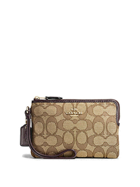 Coach 54627 Outline Signature Corner Zip Wristlet - Khaki Brown - VixenQue - 1