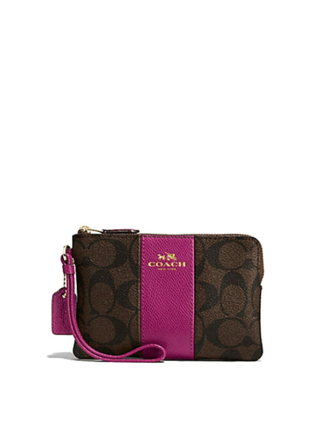 Coach 54629 Signature Coated Canvas With Leather Corner Zip Wristlet - Brown + Fuchsia - VixenQue