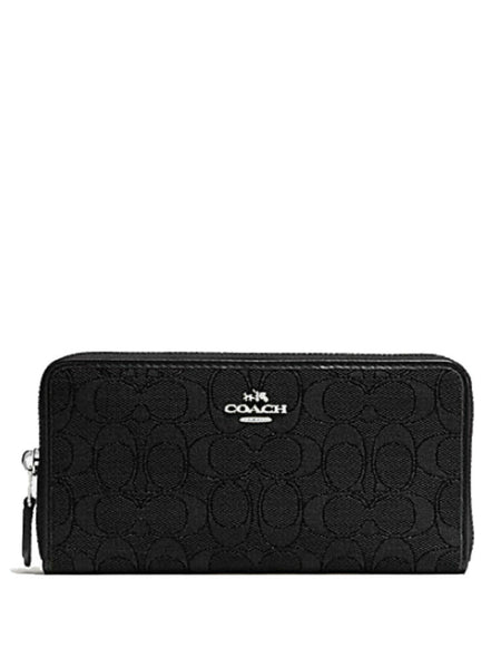 Coach 54633 Outline Signature Accordion Zip Wallet - Black - VixenQue - 1