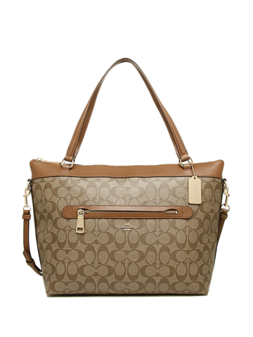 Coach 54690 Signature Tyler Tote - Khaki & Saddle