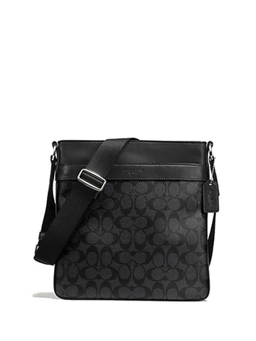 Coach 54781 Men's Signature Charles Crossbody Bag - Charcoal Black - VixenQue - 1
