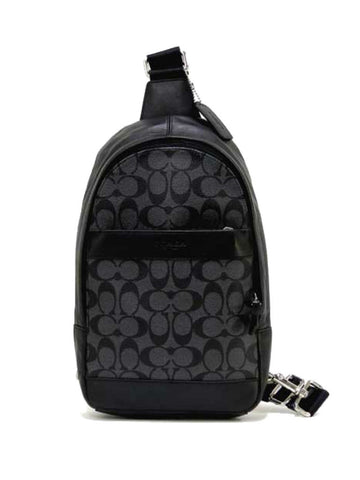 Coach 54787 Men's Signature Charles Backpack - Charcoal Black - VixenQue - 1
