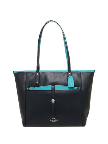 Coach 55469 Crossgrain Leather City Tote with Removable Pouch - Midnight & Turquoise