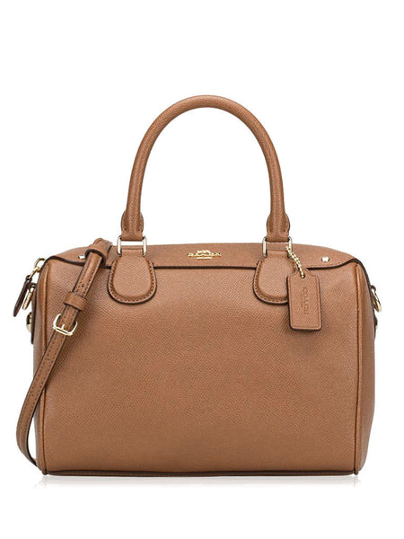 COACH 57521 Crossgrain Leather Mini Bennett Satchel Bag - Saddle