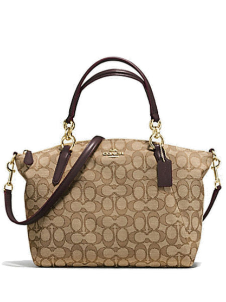 Coach 58283 Outline Signature Small Kelsey Satchel - Khaki + Brown - VixenQue - 1
