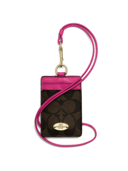 Coach 63274 Signature Lanyard ID Case - Brown & Dahlia - VixenQue