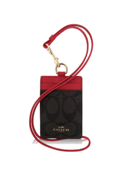 Coach 63274 Signature Lanyard ID Case - Brown + Red - VixenQue