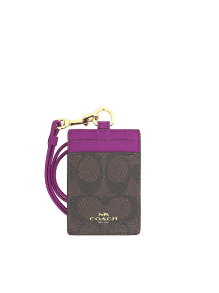Coach 63274 Signature Lanyard ID Case - Brown & Fuchsia - VixenQue
