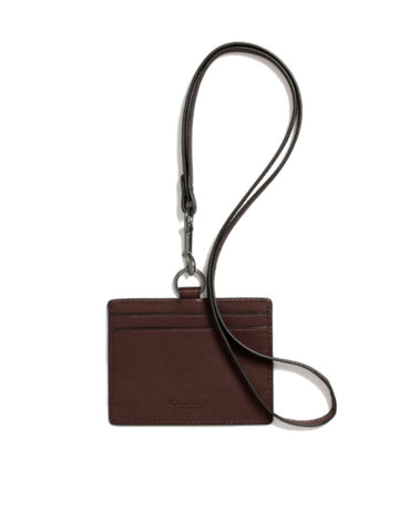Coach 63629 Sport Calf Leather ID Lanyard - Mahogany Brown - VixenQue - 1