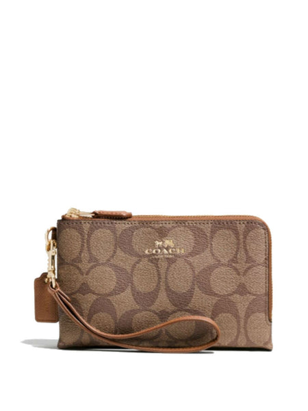Coach 64131 Signature Coated Canvas Double Zippered Corner Wristlet - Khaki - VixenQue - 1