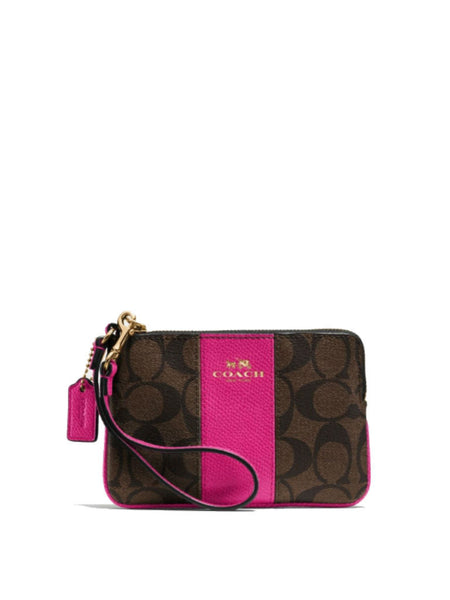 Coach 64233 Signature Coated Canvas With Leather Corner Zip Wristlet - Brown + Fuchsia - VixenQue