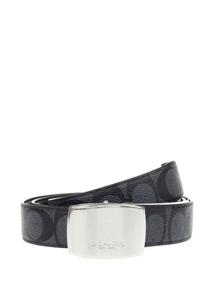Coach 64828 Signature C Dress Plaque Cut-To-Size Reversible Belt - Charcoal Black - VixenQue - 1