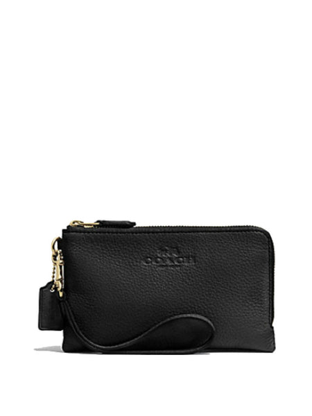 Coach 66505 Pebbled Leather Double Zippered Corner Wristlet - Black - VixenQue - 1