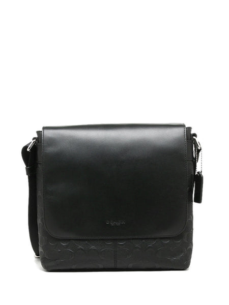 Coach 72220 Signature Charles Small Messenger - Black - VixenQue - 1