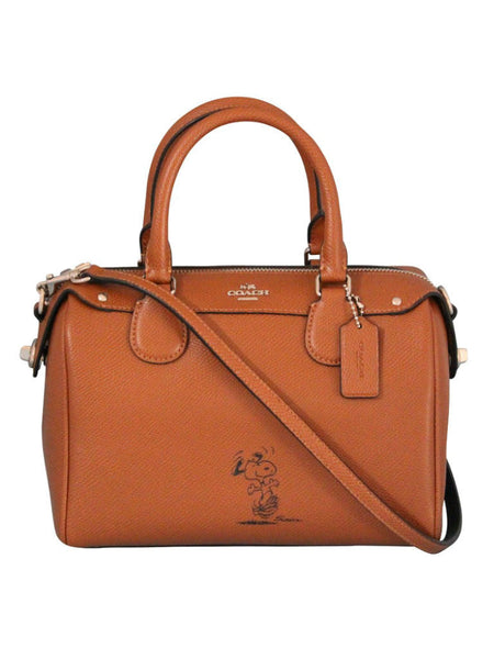 COACH X Peanuts 37272 Calf Leather Mini Bennett Satchel Bag [Silver Saddle] - VixenQue - 1
