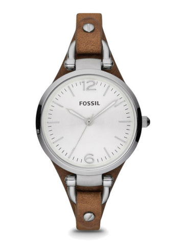 FOSSIL ES3060 Women's Georgia Bone Leather Watch - Brown