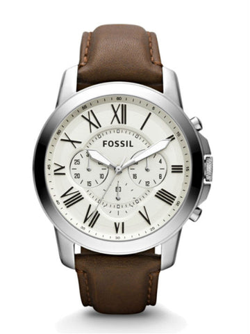 FOSSIL FS4735 Grant Chronograph Leather Watch - Brown