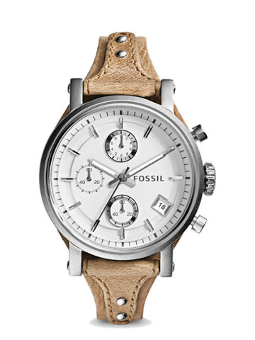 FOSSIL ES3625 Original Boyfriend Chronograph Bone Leather Watch - Beige
