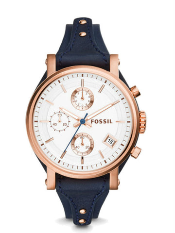 FOSSIL ES3838 Original Boyfriend Chronograph Navy Leather Watch