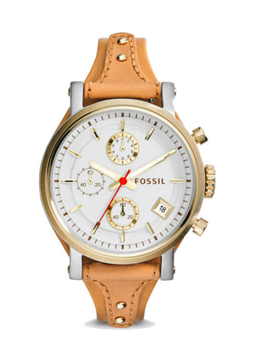 FOSSIL ES3615 Original Boyfriend Chronograph Tan Leather Watch - Brown