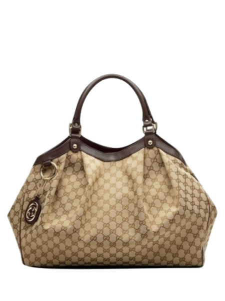 GUCCI 364840 'Sukey' Large Tote Bag - Beige Ebony Brown - VixenQue - 1