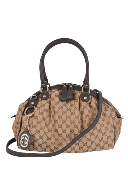 GUCCI 364841 'Sukey' Medium Boston Bag - Beige Ebony Brown - VixenQue - 1